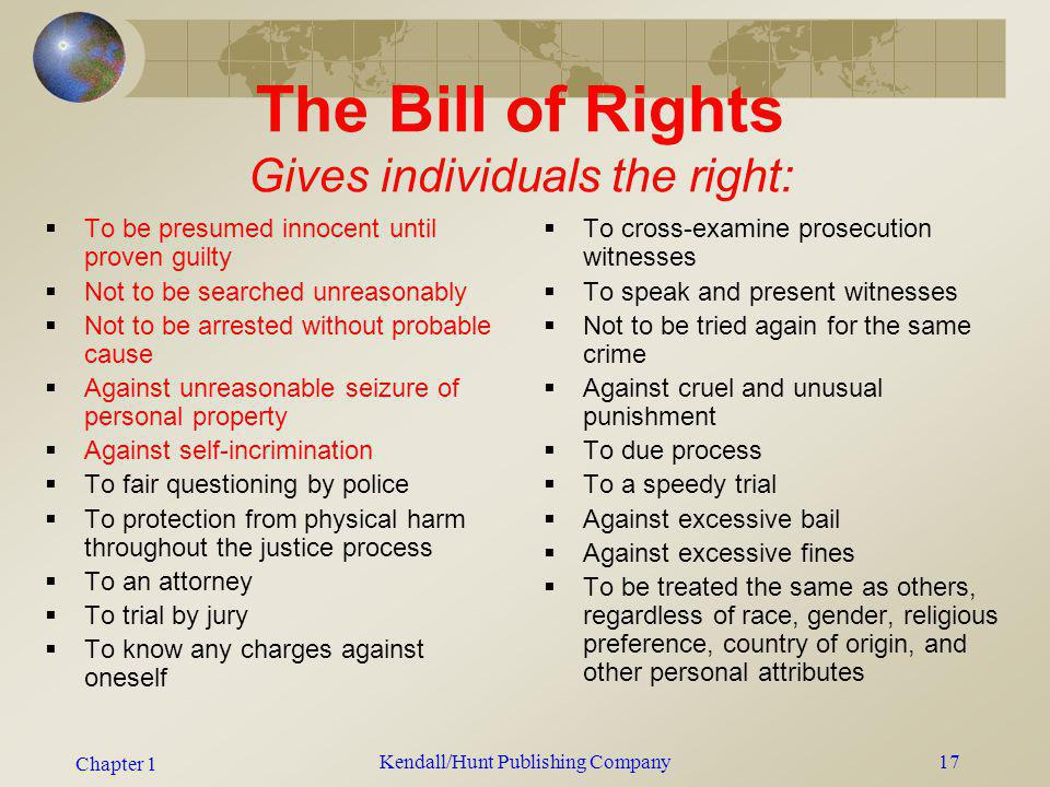 The Bill of Rights Gives individuals the right: