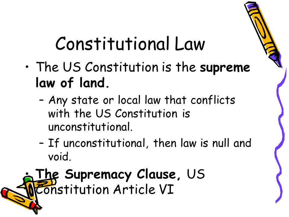Constitutional Law The US Constitution is the supreme law of land.