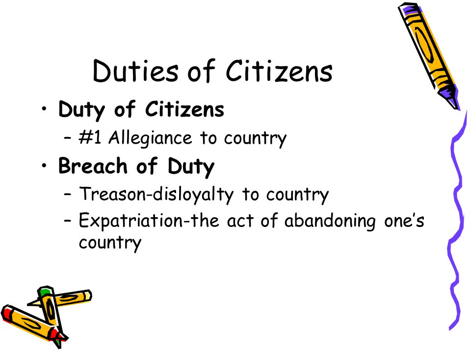 Duties of Citizens Duty of Citizens Breach of Duty