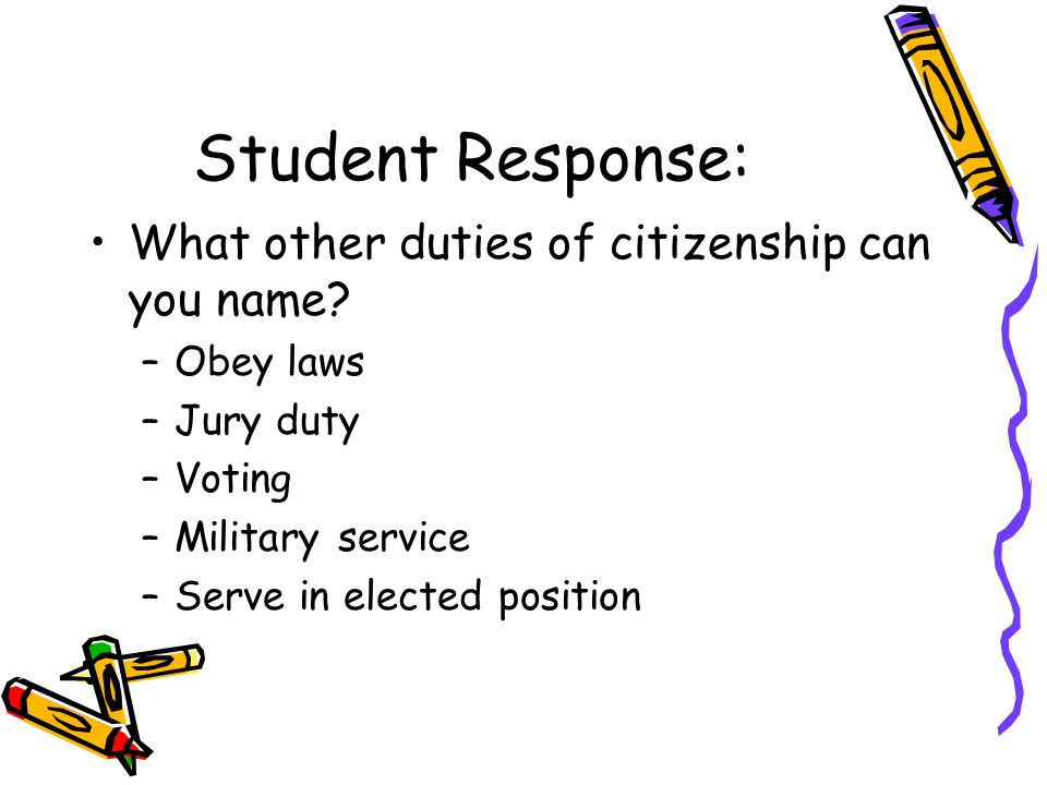 Student Response: What other duties of citizenship can you name