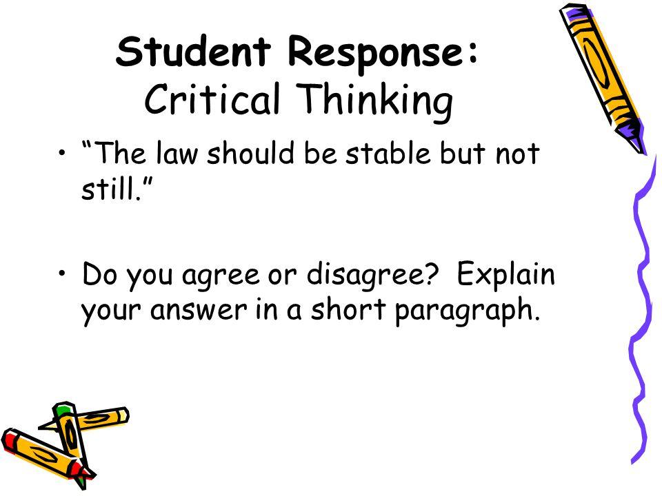Student Response: Critical Thinking