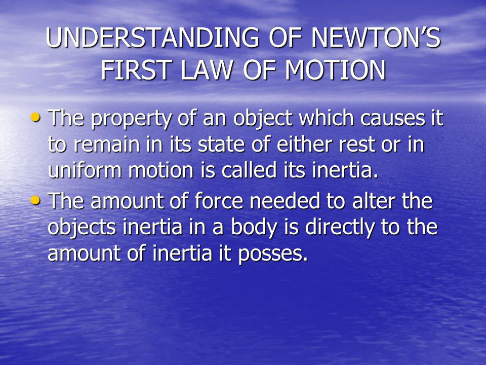 UNDERSTANDING OF NEWTON'S FIRST LAW OF MOTION