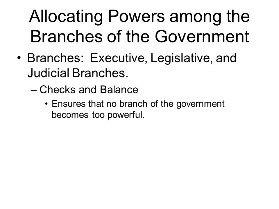 Allocating Powers among the Branches of the Government