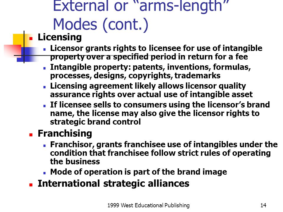 External or arms-length Modes (cont.)