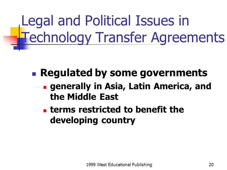Legal and Political Issues in Technology Transfer Agreements