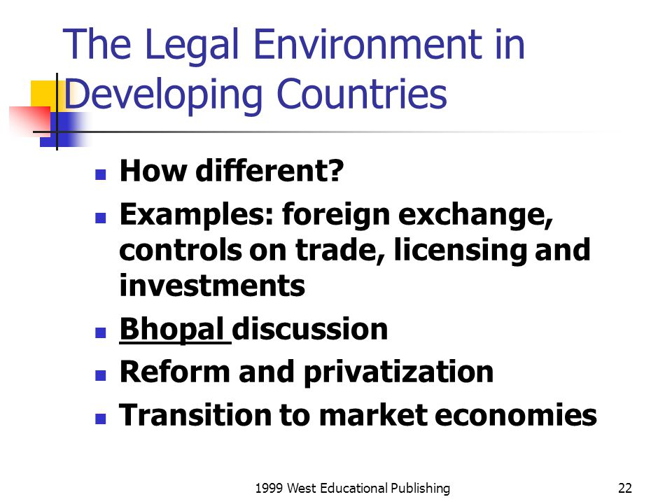 The Legal Environment in Developing Countries