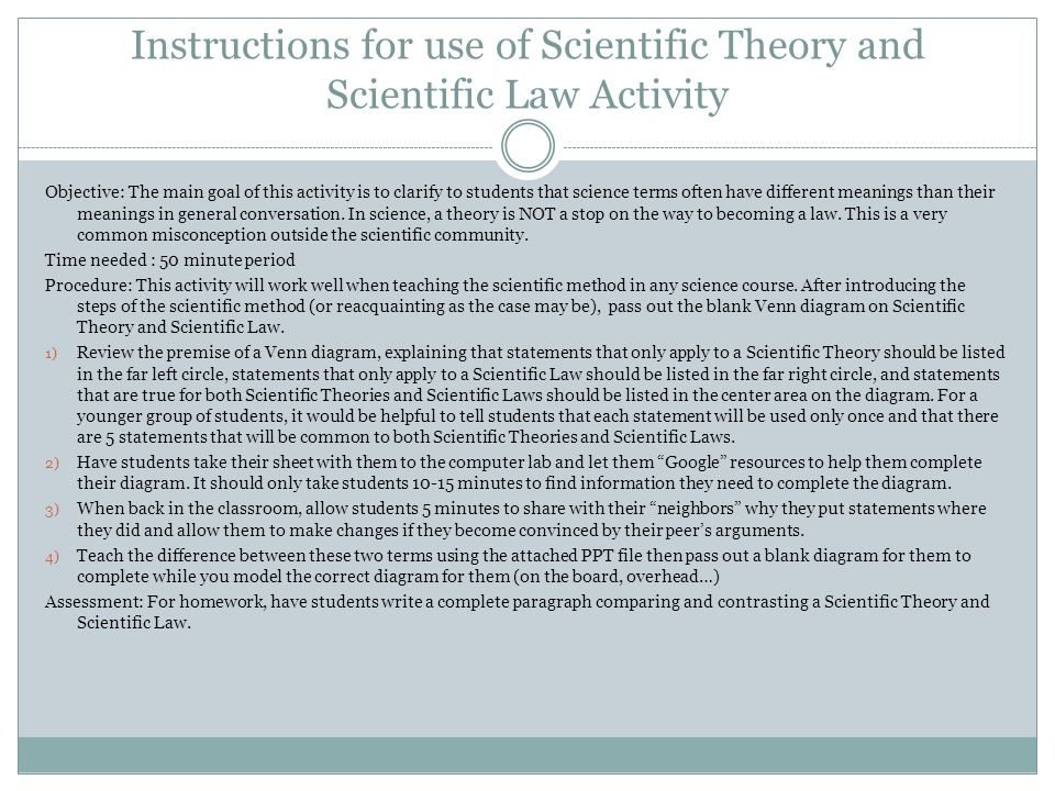 Instructions for use of Scientific Theory and Scientific Law Activity