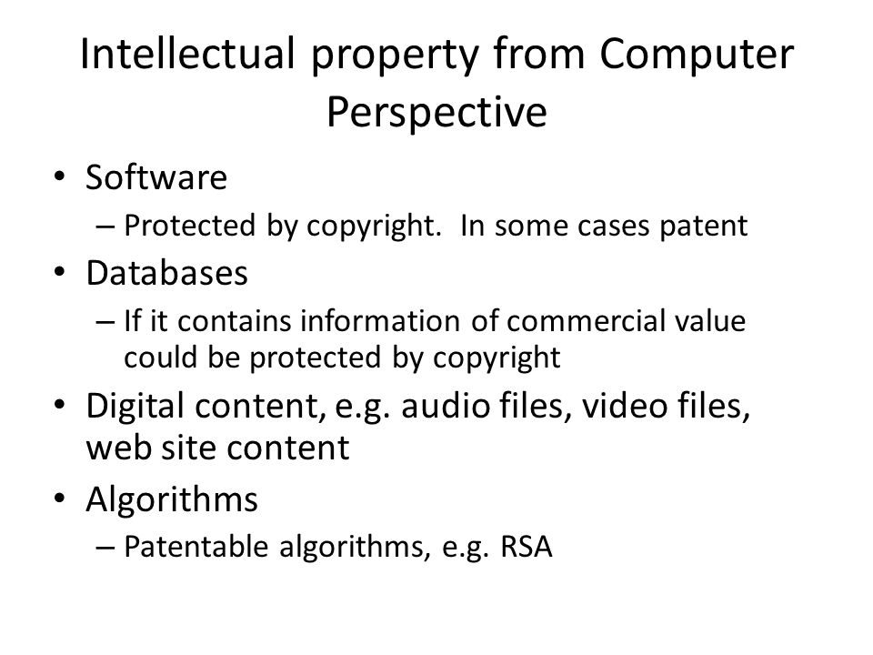 Intellectual property from Computer Perspective