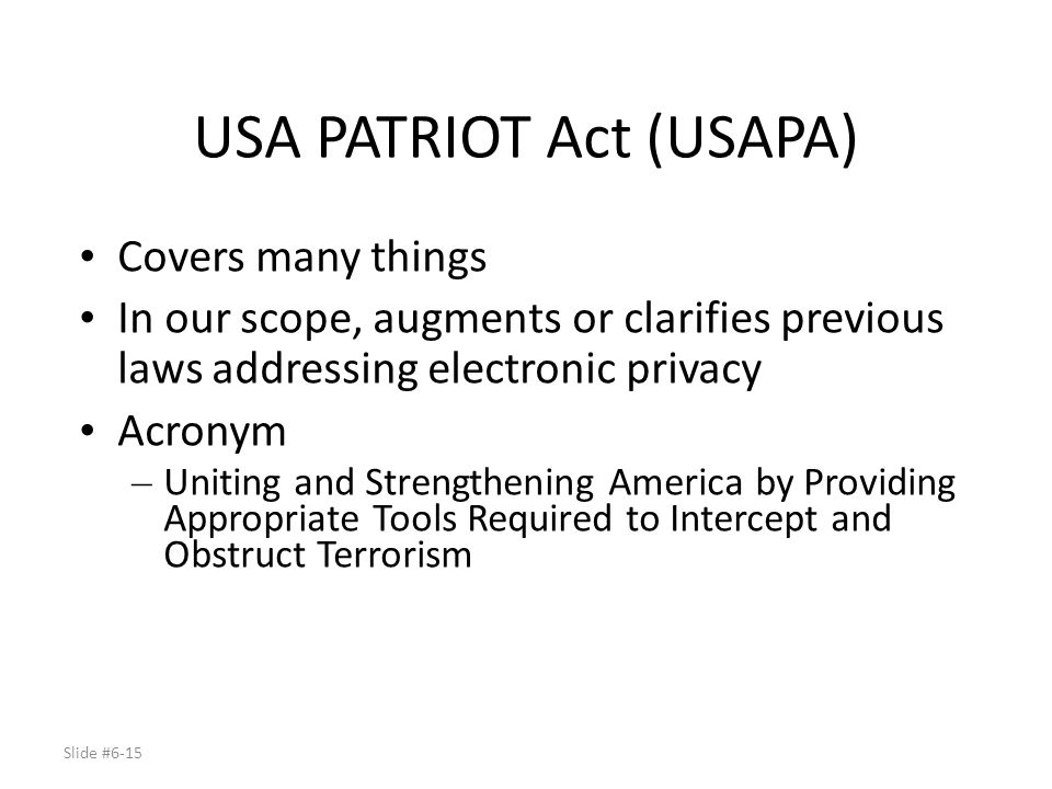 USA PATRIOT Act (USAPA)