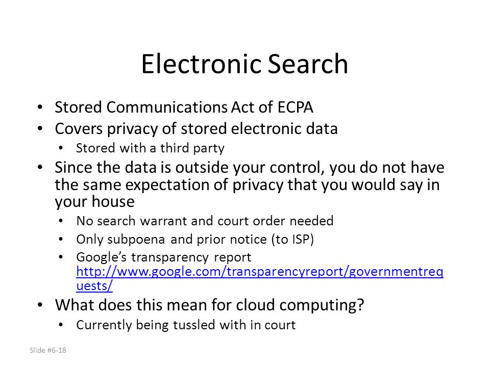 Electronic Search Stored Communications Act of ECPA