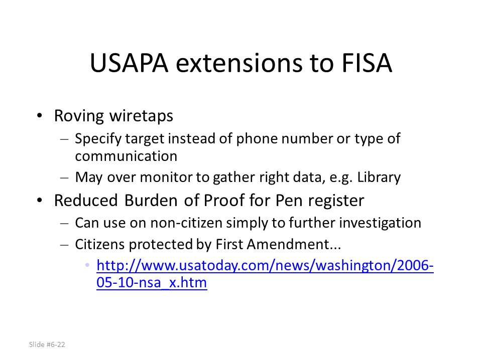 USAPA extensions to FISA