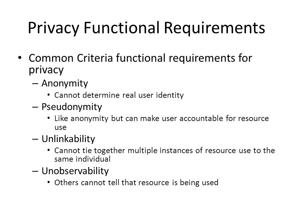 Privacy Functional Requirements