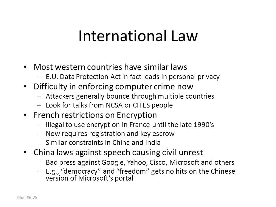 International Law Most western countries have similar laws