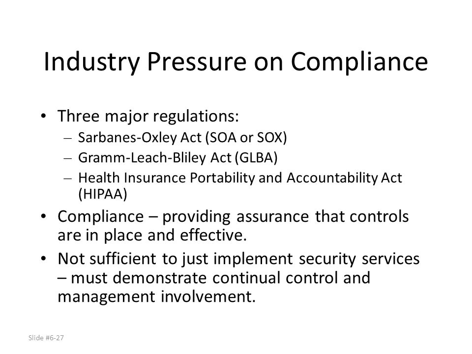 Industry Pressure on Compliance