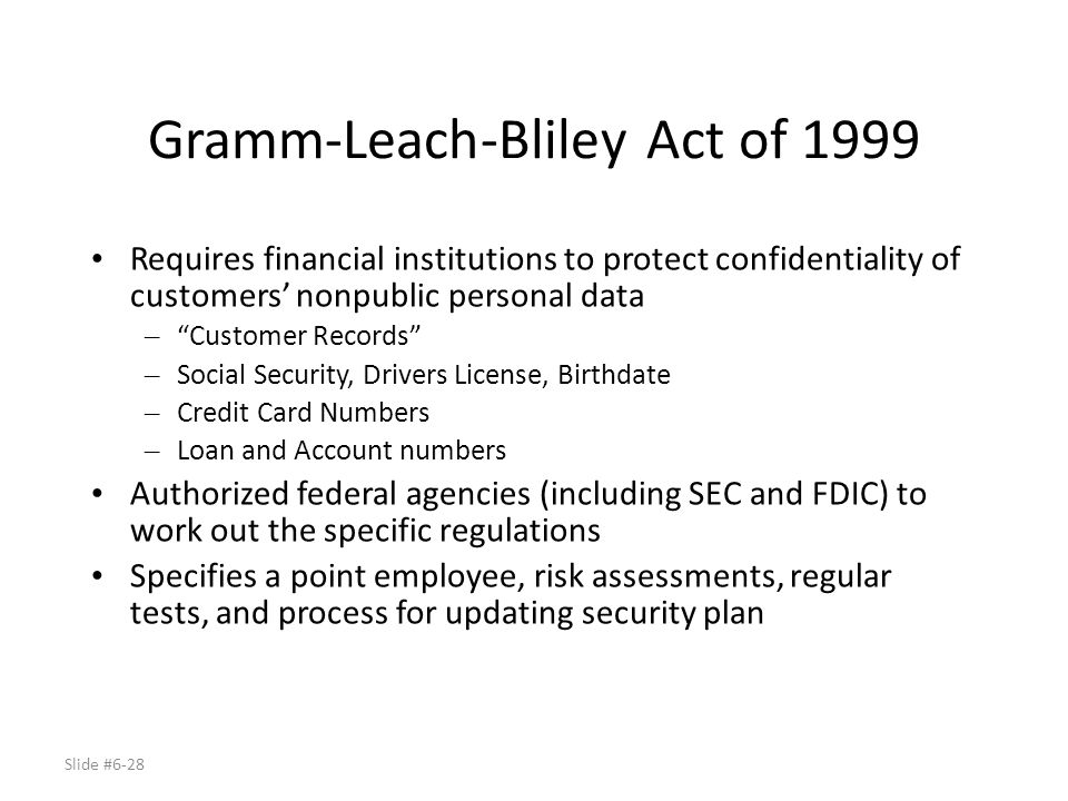 Gramm-Leach-Bliley Act of 1999