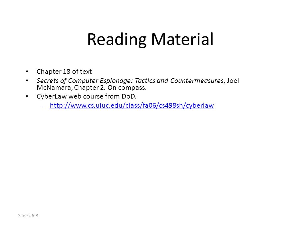 Reading Material Chapter 18 of text