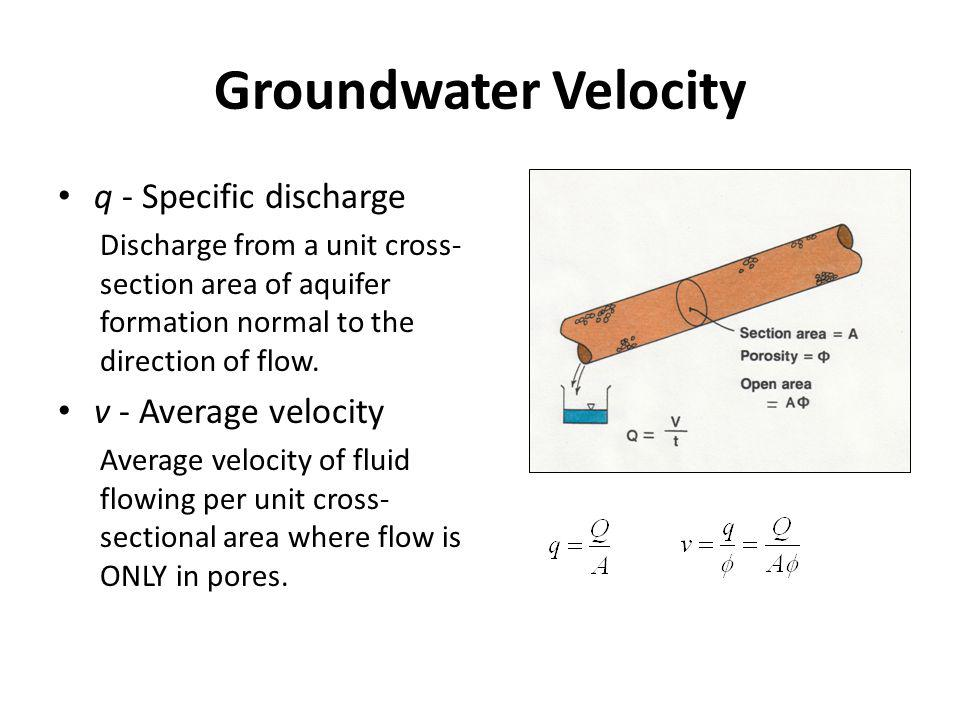 Groundwater Velocity q - Specific discharge v - Average velocity