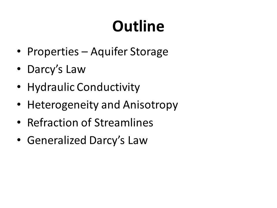 Outline Properties – Aquifer Storage Darcy's Law