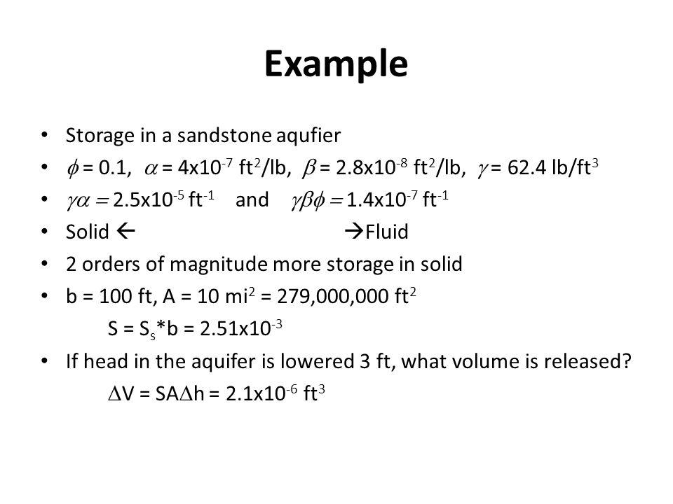 Example Storage in a sandstone aqufier