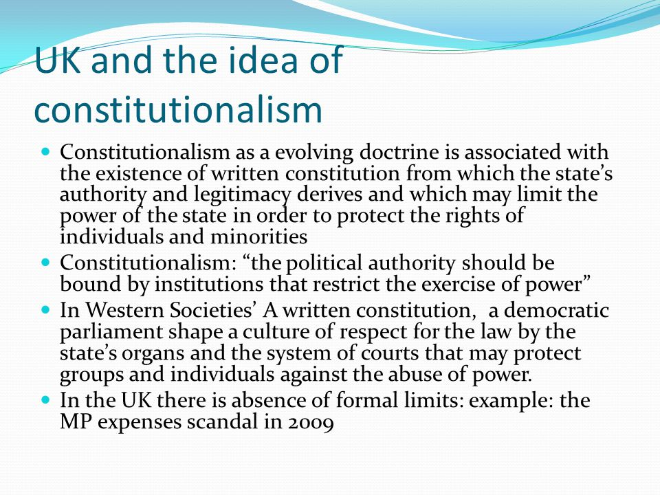 UK and the idea of constitutionalism