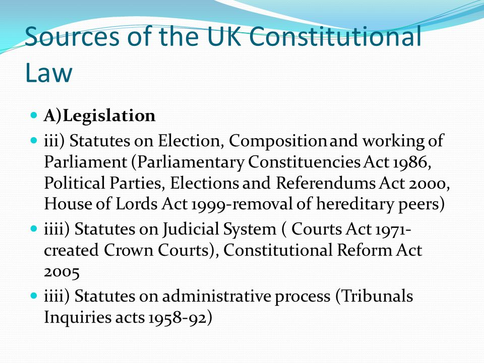 Sources of the UK Constitutional Law