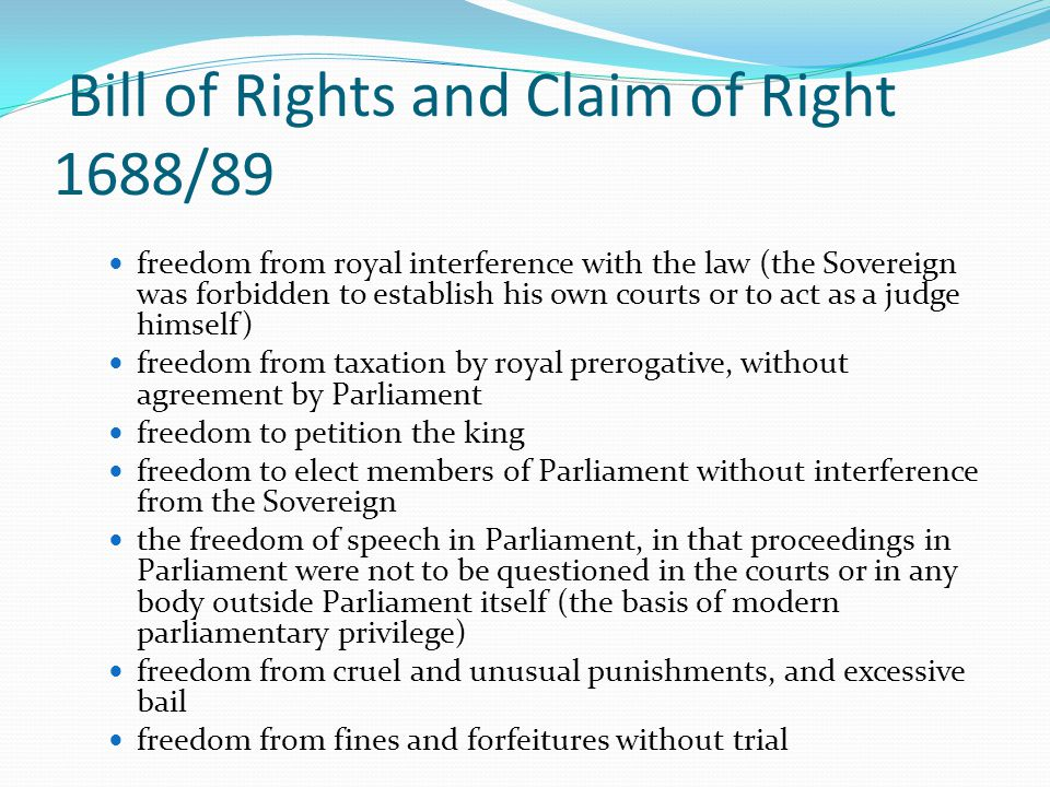 Bill of Rights and Claim of Right 1688/89