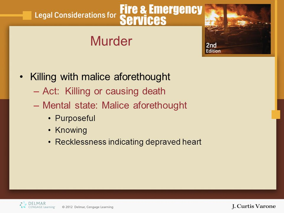 Murder Killing with malice aforethought Act: Killing or causing death