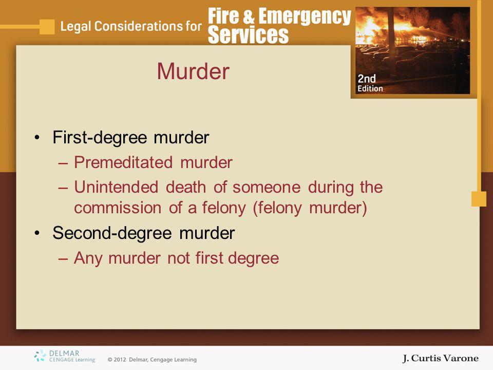 Murder First-degree murder Second-degree murder Premeditated murder
