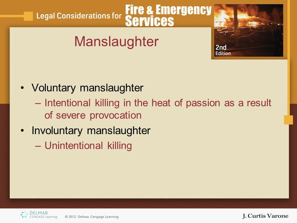 Manslaughter Voluntary manslaughter Involuntary manslaughter