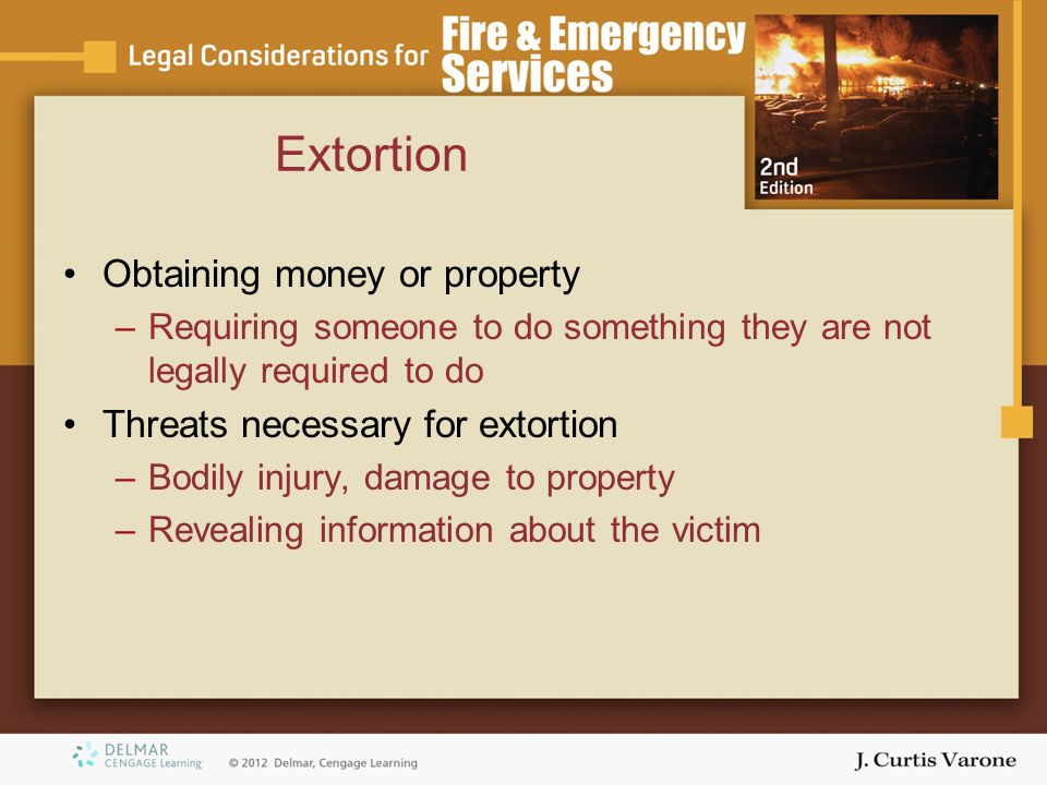 Extortion Obtaining money or property Threats necessary for extortion