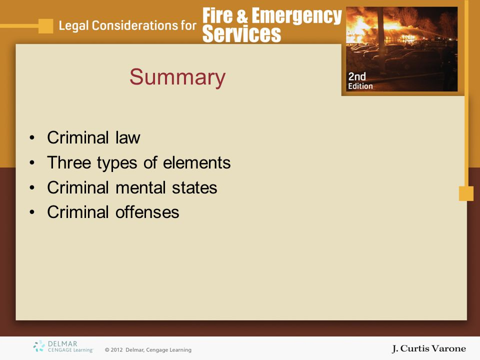 Summary Criminal law Three types of elements Criminal mental states