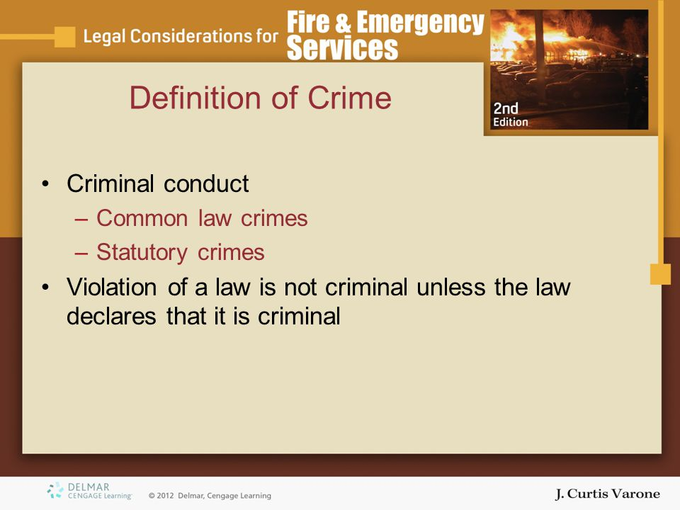 criminal conduct and criminal law The study of the criminal law and its relationship to sport is quite broad,   criminal misconduct, the state must prove that an act occurred (actus.