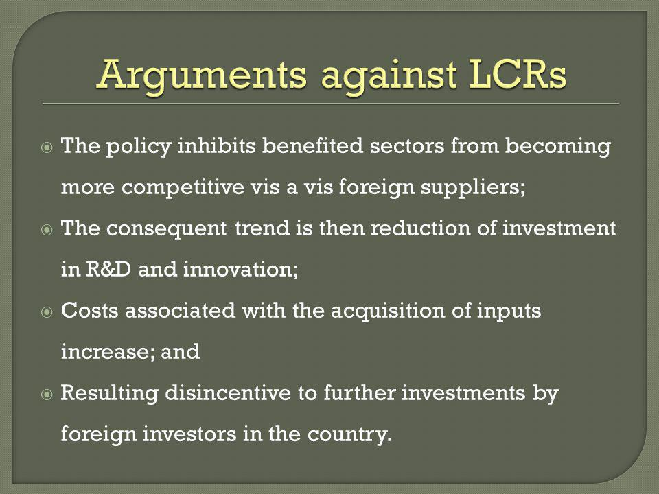Arguments against LCRs
