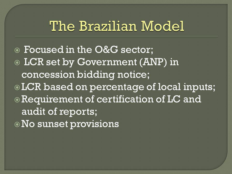 The Brazilian Model Focused in the O&G sector;