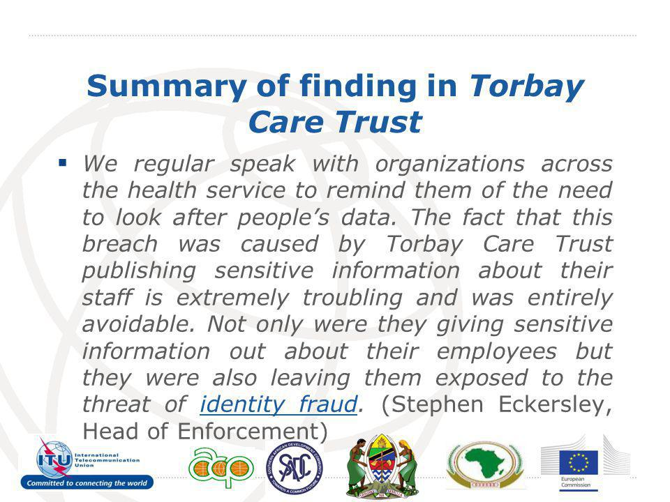 Summary of finding in Torbay Care Trust