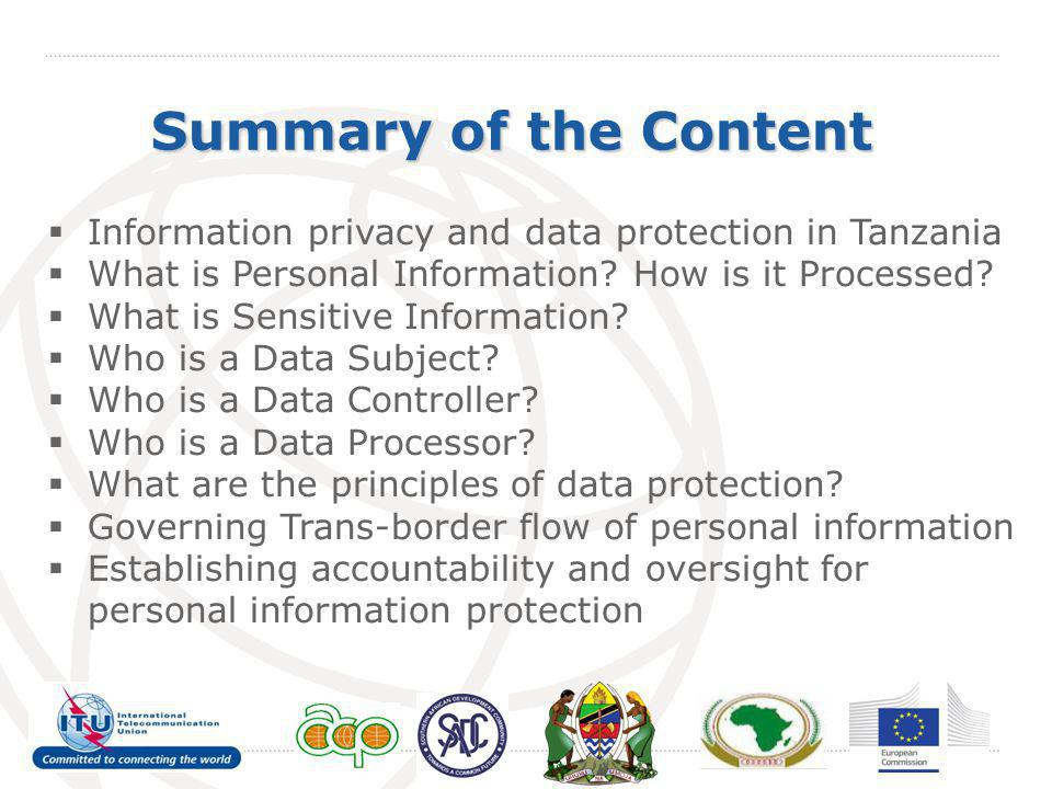 Summary of the Content Information privacy and data protection in Tanzania. What is Personal Information How is it Processed