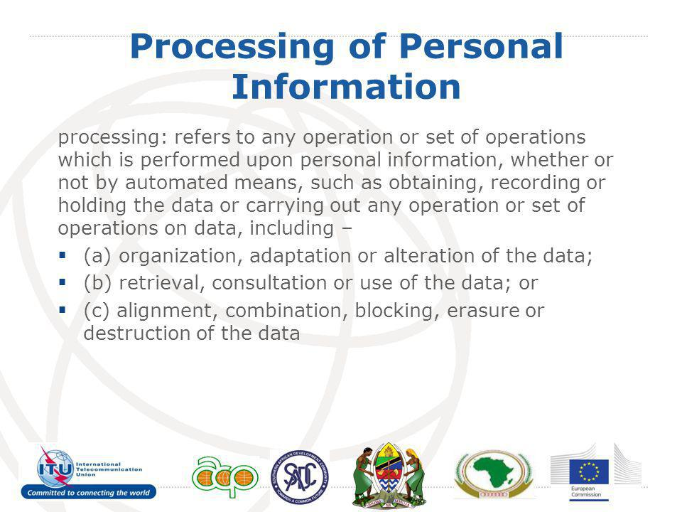 Processing of Personal Information