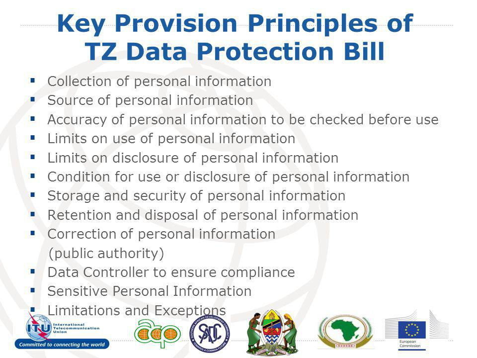 Key Provision Principles of TZ Data Protection Bill