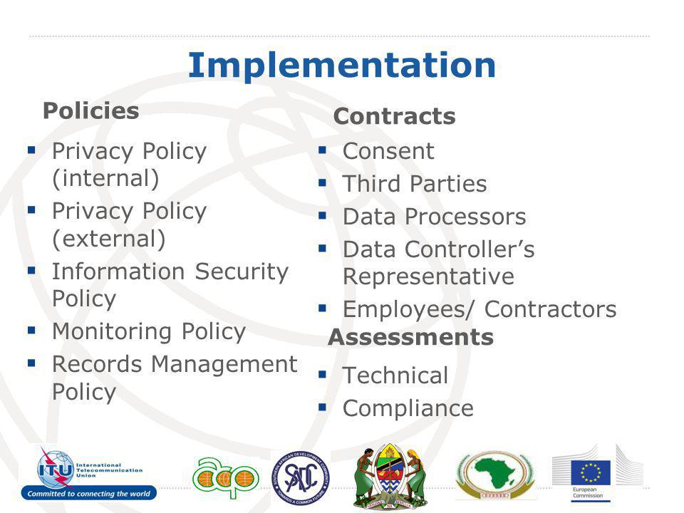 Implementation Policies Contracts Privacy Policy (internal)