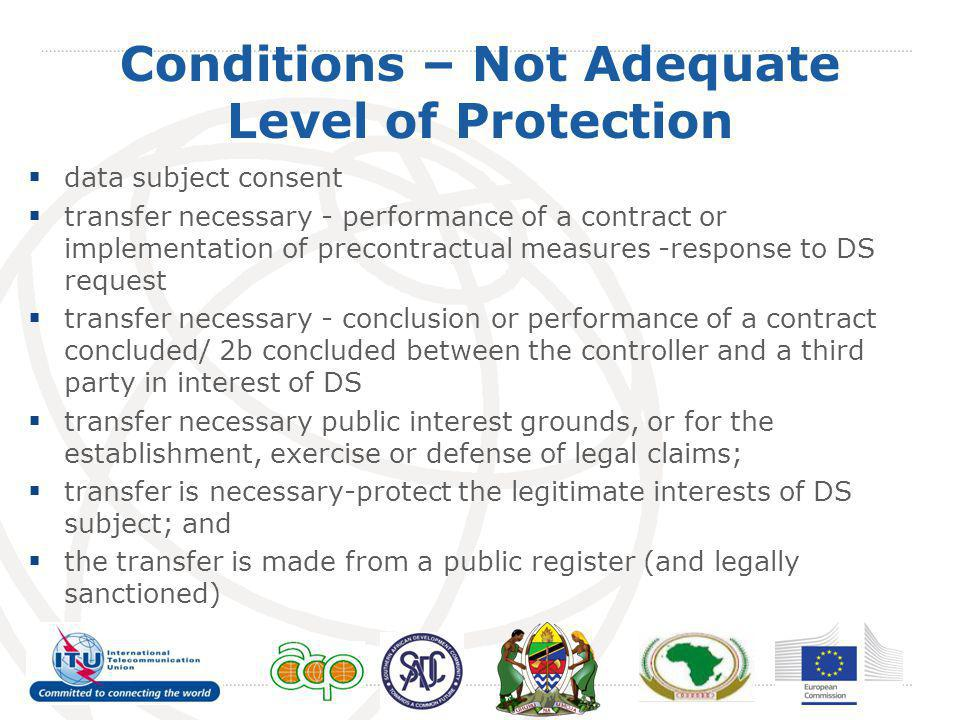 Conditions – Not Adequate Level of Protection