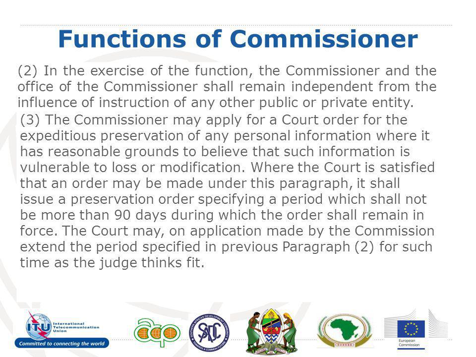 Functions of Commissioner