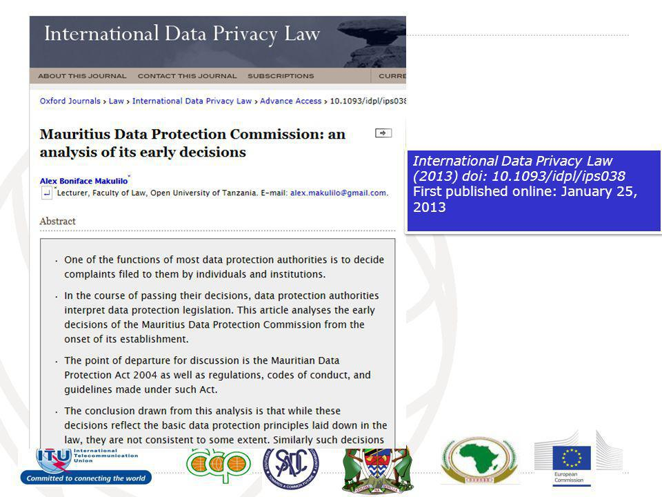 International Data Privacy Law (2013) doi: 10