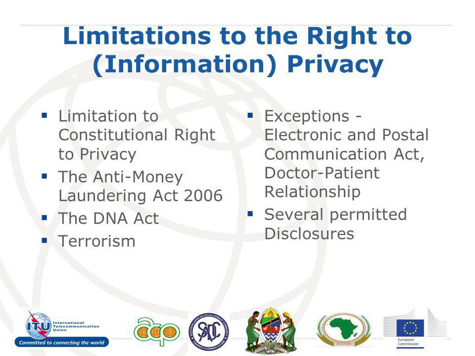 Limitations to the Right to (Information) Privacy