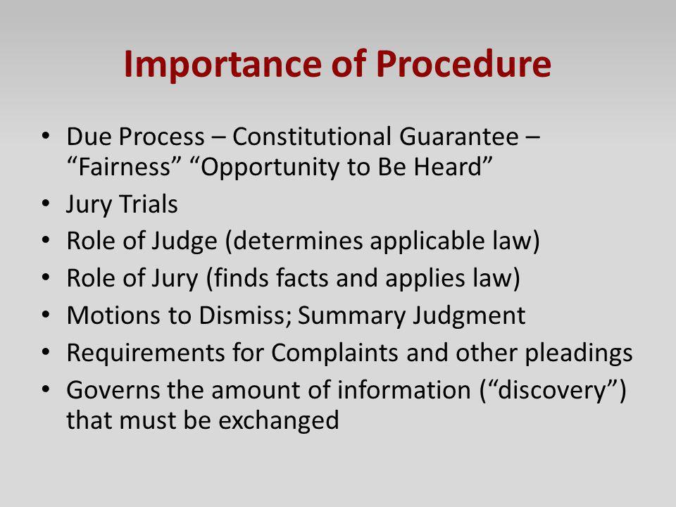 Importance of Procedure