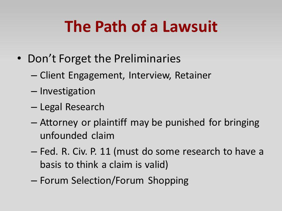 The Path of a Lawsuit Don't Forget the Preliminaries