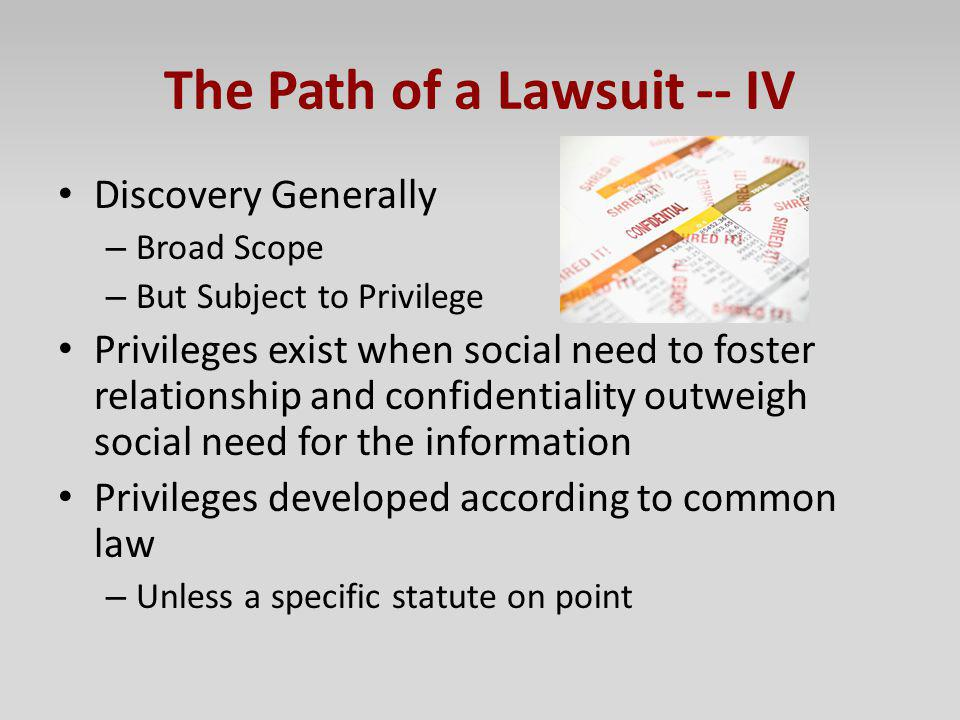 The Path of a Lawsuit -- IV