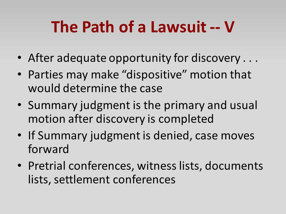 The Path of a Lawsuit -- V