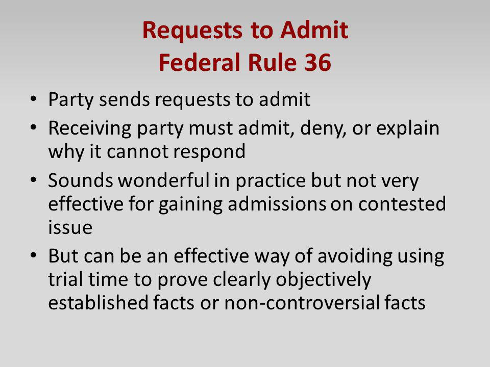 Requests to Admit Federal Rule 36