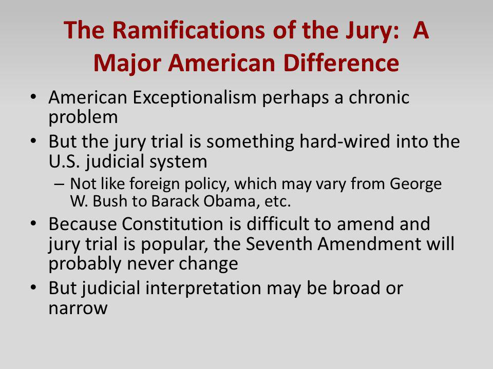 The Ramifications of the Jury: A Major American Difference