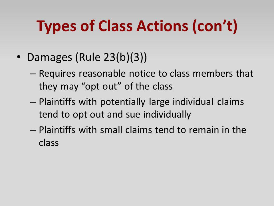 Types of Class Actions (con't)